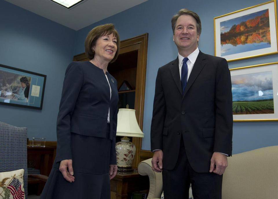 Senator Susan Collins of Maine met with Supreme Court nominee Judge Brett Kavanaugh at her office last month.
