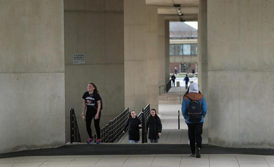 students on the campus of the university of massachusetts amherst