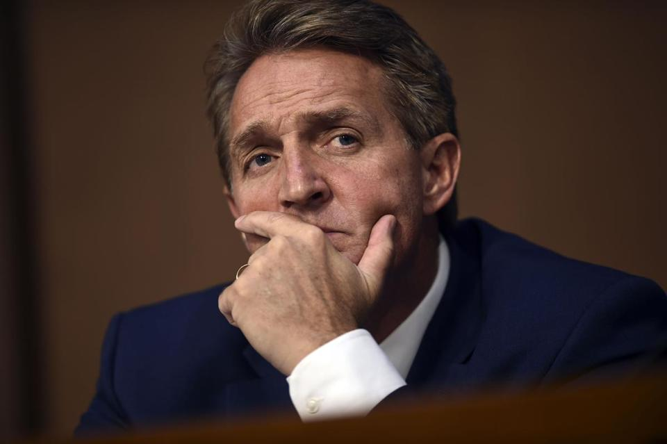 US Senator Jeff Flake, Republican of Arizona, listened during Brett Kavanaugh's confirmation hearing earlier this month.