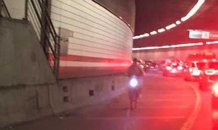 "By the time State Police arrived, the cyclist had left the Thomas P. ""Tip"" O'Neill Jr. Tunnel."