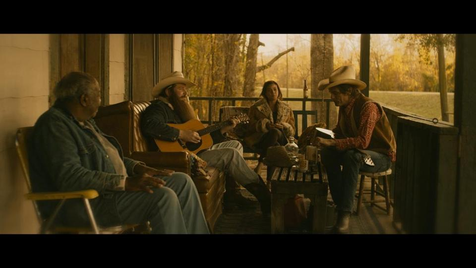 Ben Dickey as Blaze Foley, and Charlie Sexton as Townes Van Zant in Ethan Hawke's Blaze.""