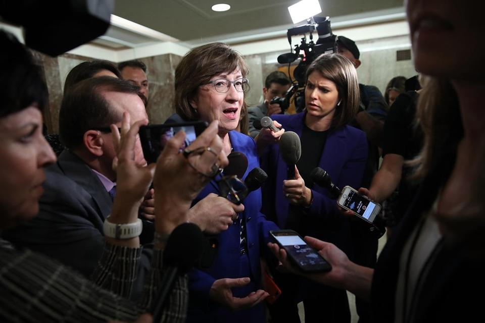 WASHINGTON, DC - SEPTEMBER 17: Sen. Susan Collins (R-ME) answers questions from reporters on allegations against Supreme Court nominee Brett Kavanaugh on Capitol Hill September 17, 2018 in Washington, DC. Collins said it is important to get both sides of the story,, but indicated if Kavanaugh is found to have been untruthful it would be grounds for disqualifying his nomination. (Photo by Win McNamee/Getty Images)