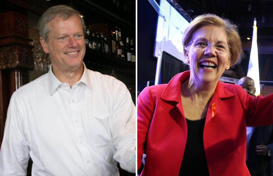 Charlie Baker and Elizabeth Warren. (Katherine Taylor for The Boston Globe and Craig F. Walker/Globe Staff/File)