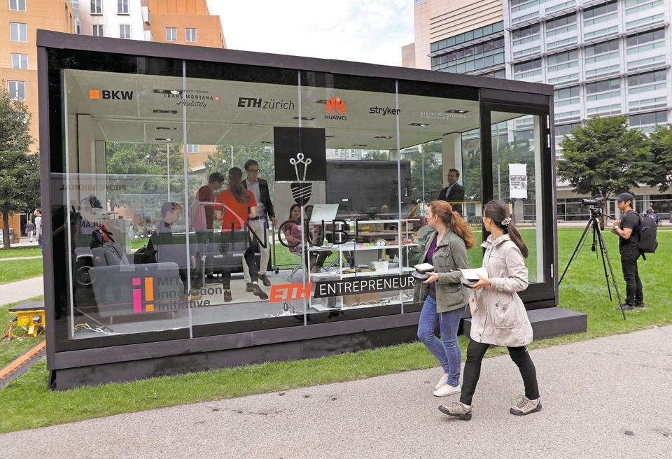 Five MIT students shut themselves inside a transparent glass box Thursday.