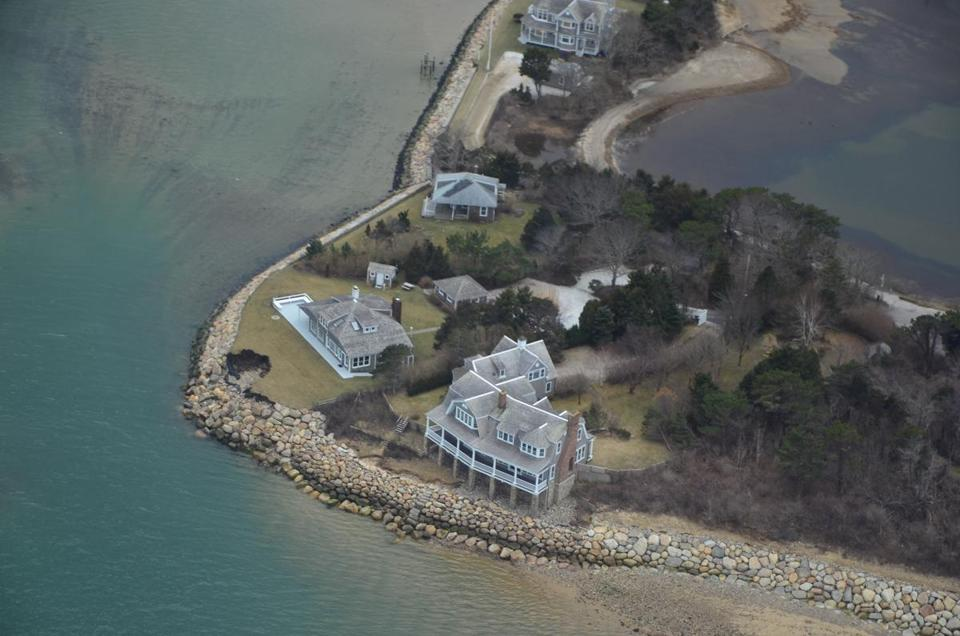 An aerial view after a storm in March showed craters that formed along the coast of Milden's home.