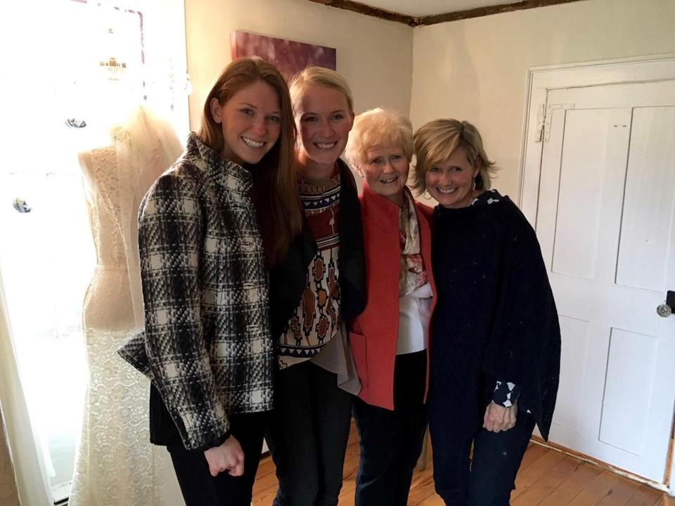 From left, sisters Reilly Carey and Katie Nivard, their grandmother Mary Ann Keyes, and mom Kelly Carey. The younger women have drifted away from the church their grandmother still loves.