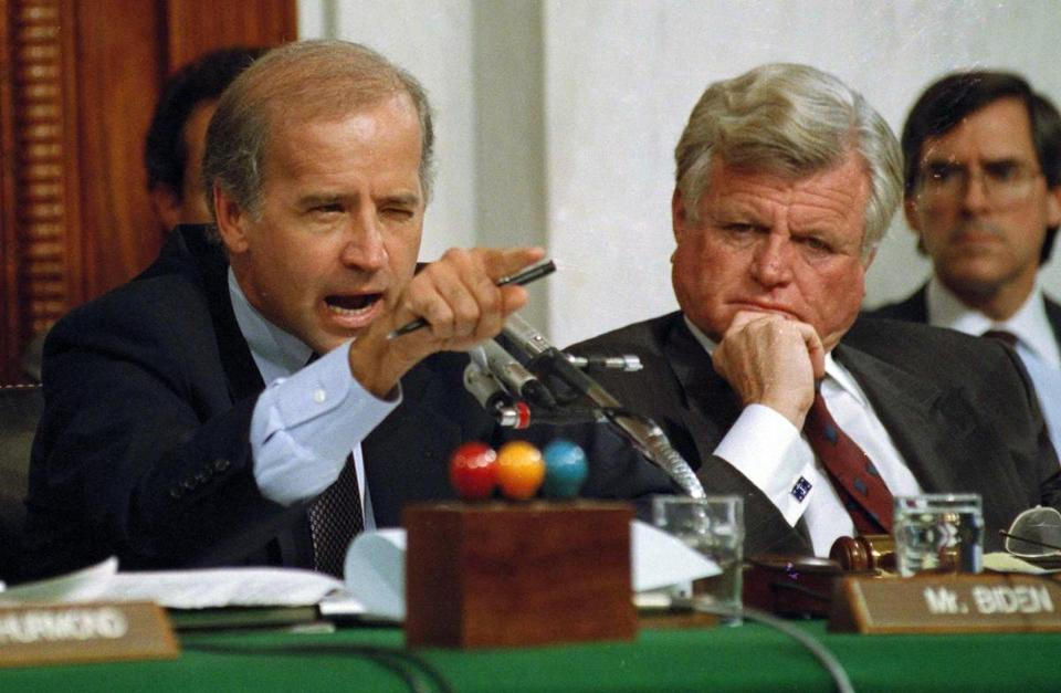 Then-senator Joe Biden (left) in 1991 at Clarence Thomas's confirmation hearings.
