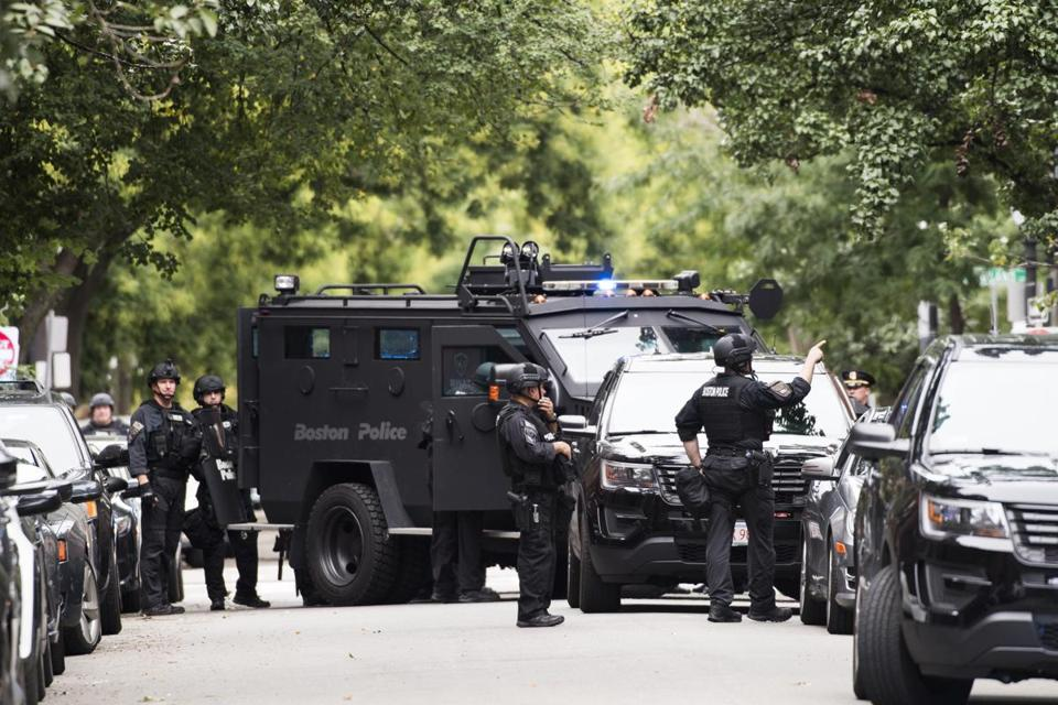 Boston police special operations truck and officers were on West Springfield Street on Sunday afternoon.