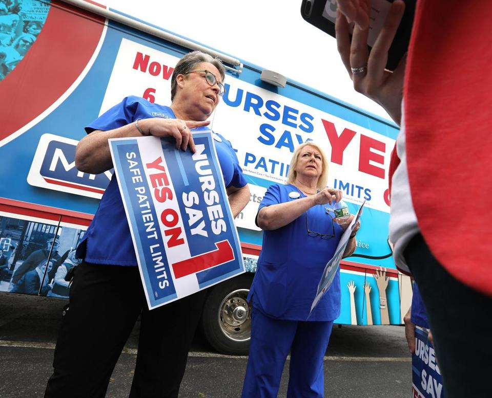 The ballot question backed by the Massachusetts Nurses Association, a labor union, would limit on the number of patients assigned to a nurses at any one time.