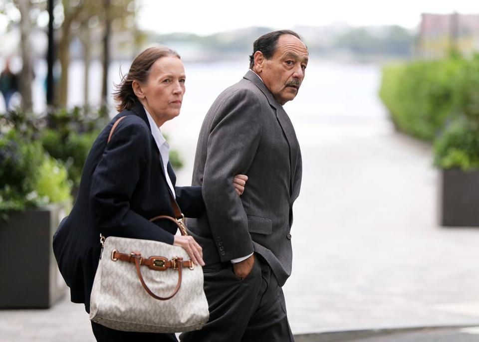 Boston, MA - 9/24/18 - Robert D. Chain (cq), of Encino, CA, leaves the John Joseph Moakley United States Courthouse (cq), after an appearance. (Please confirm that the woman is his wife.) He was charged with allegedly making threatening phone calls to The Boston Globe. Photo by Pat Greenhouse/Globe Staff Topic: 25threats Reporter: Andy Rosen