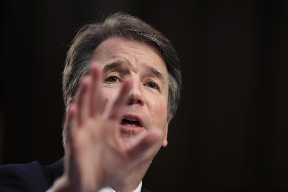 FILE - In this Sept. 5, 2018, file photo, Supreme Court nominee Brett Kavanaugh, testifies before the Senate Judiciary Committee on Capitol Hill in Washington, for the second day of his confirmation hearing to replace retired Justice Anthony Kennedy. (AP Photo/Manuel Balce Ceneta, File)
