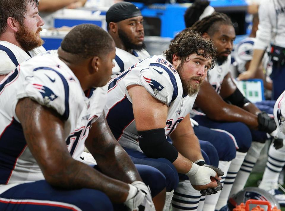 Center David Andrews and the offensive line are not a happy bunch near the end of the game.