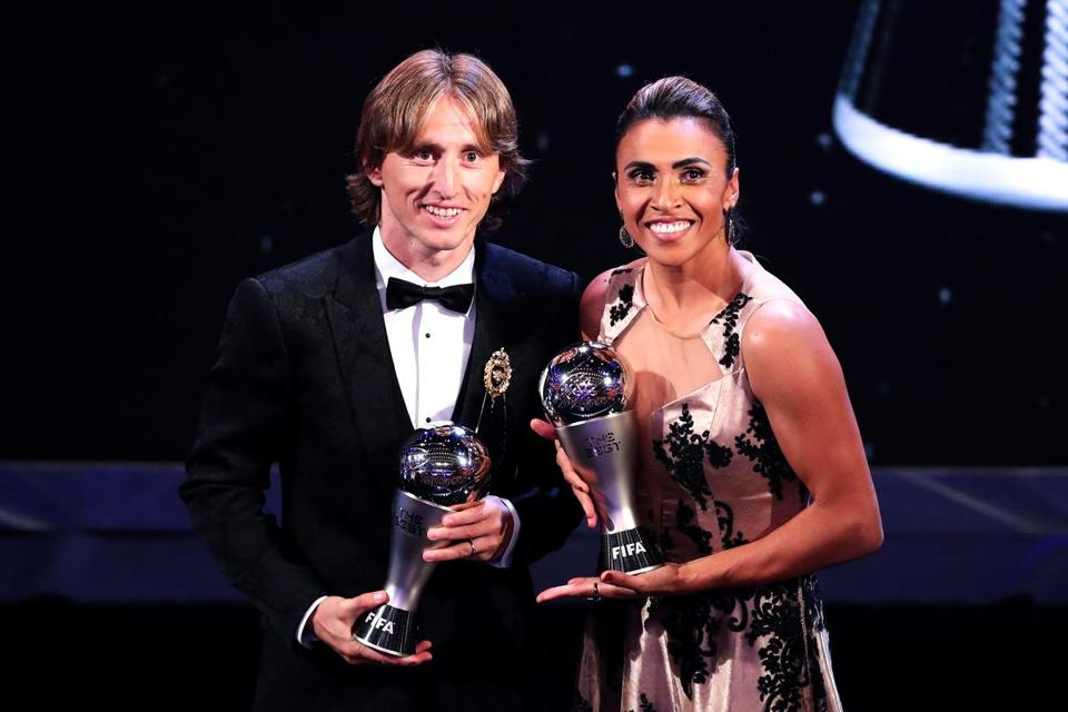 LONDON, ENGLAND - SEPTEMBER 24: Luka Modric of Real Madrid (L) and Marta of Orland Pride pose for a photo during the The Best FIFA Football Awards Show at Royal Festival Hall on September 24, 2018 in London, England. (Photo by Dan Istitene/Getty Images)