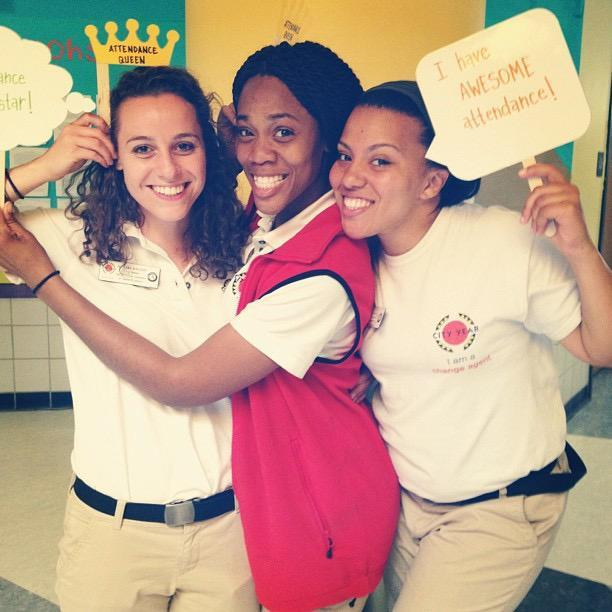 Wensess Raphael (center) developed a passion for mentoring during her City Year.