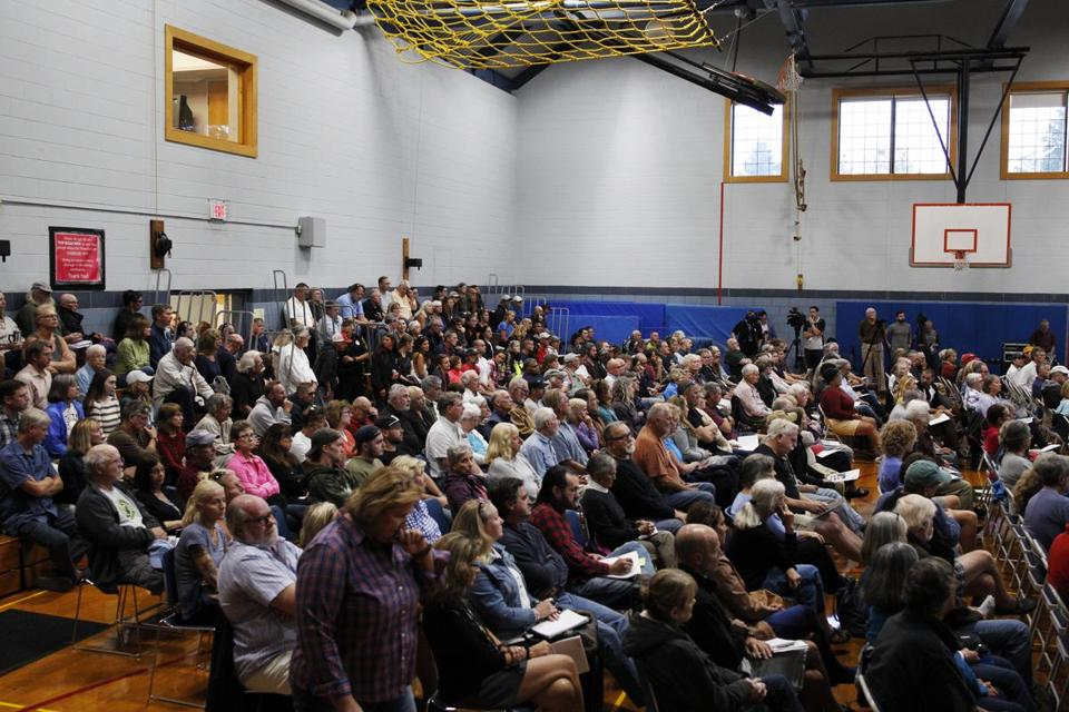 Wellfleet, MA - 9/27/2018- Members of the community gather at Wellfleet Elementary School to express their concerns regarding the recent death due to a Great White shark attack on Newcomb Hollow Beach. (Michael Swensen for The Boston Globe) Topic: (metro)