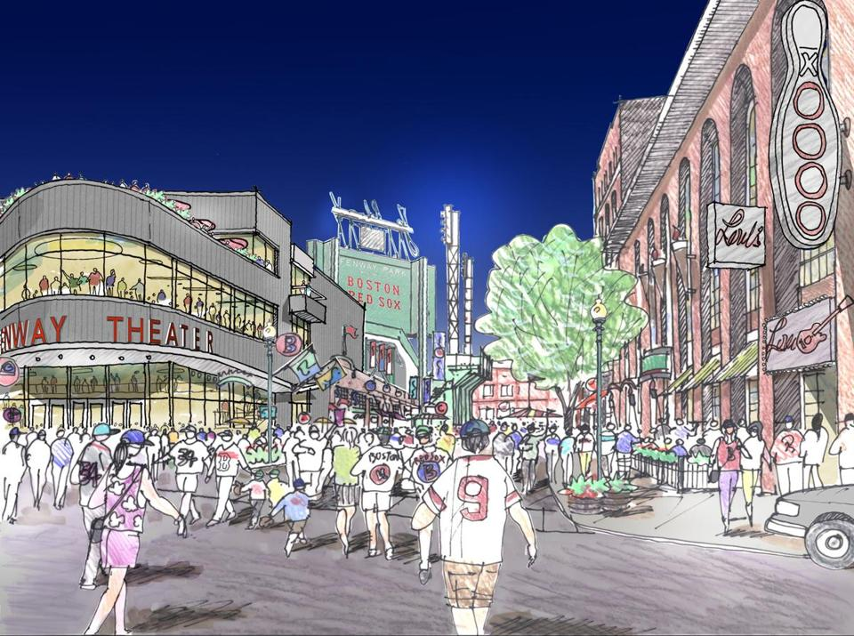 Rendering of a proposed music theater the Red Sox owners and Live Nation would build alongside Fenway Park.