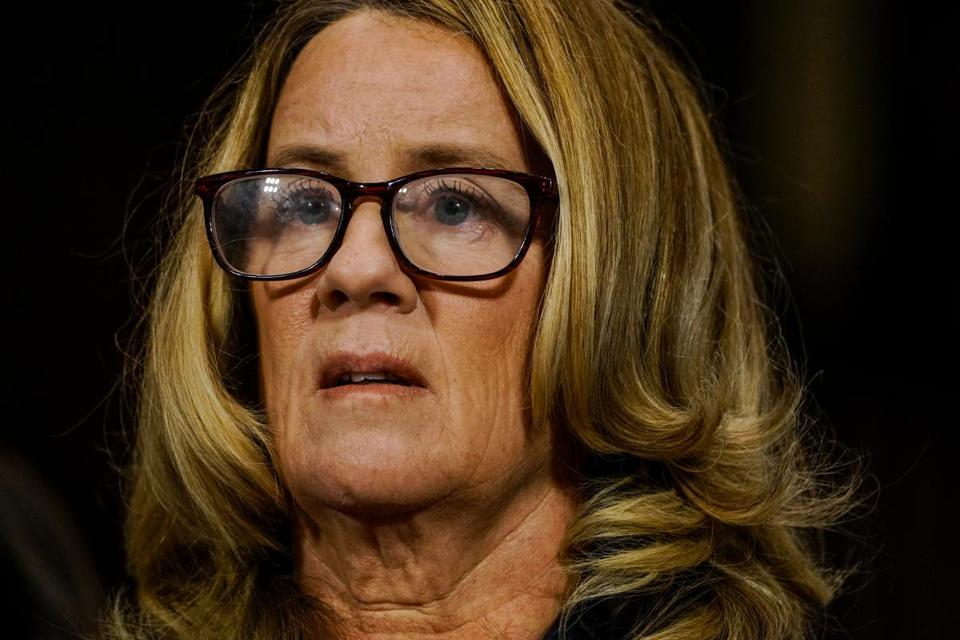 Christine Blasey Ford speaks during a Senate Judiciary Committee hearing Sept. 27, 2018, in Washington. MUST CREDIT: Washington Post photo by Melina Mara