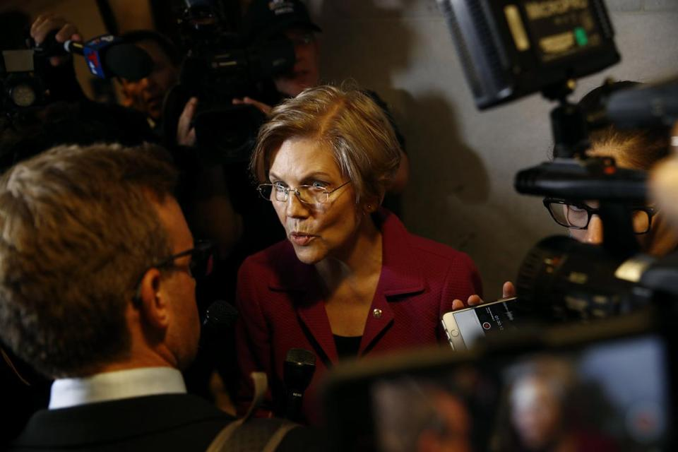 US Senator Elizabeth Warren met with reporters on Capitol Hill last month.