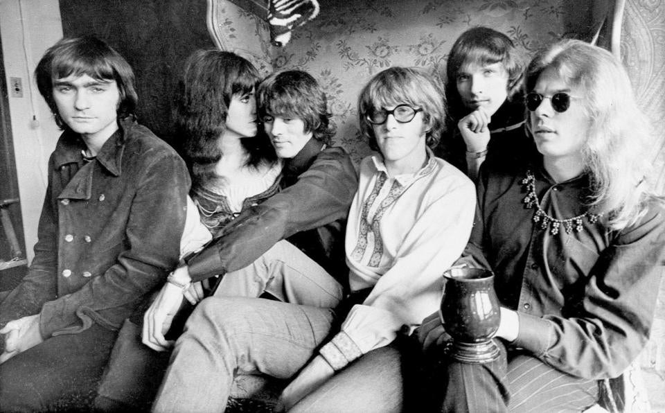 Jefferson Airplane in 1968: From left, Marty Balin, Grace Slick, Spencer Dryden, Paul Kantner, Jorma Kaukonen, and Jack Casady.