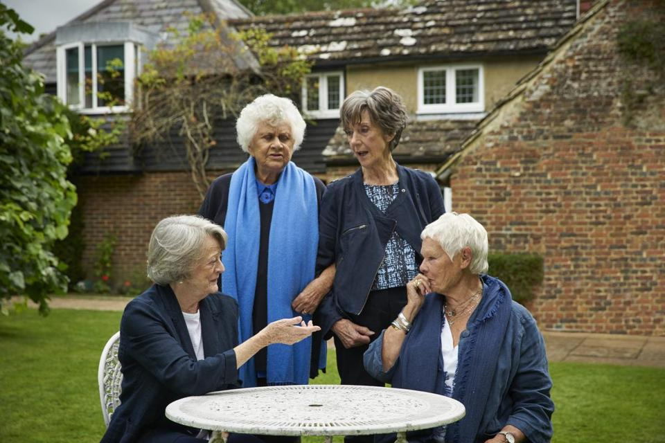 "From left: Maggie Smith, Joan Plowright, Eileen Atkins, and Judi Dench in ""Tea With the Dames."""