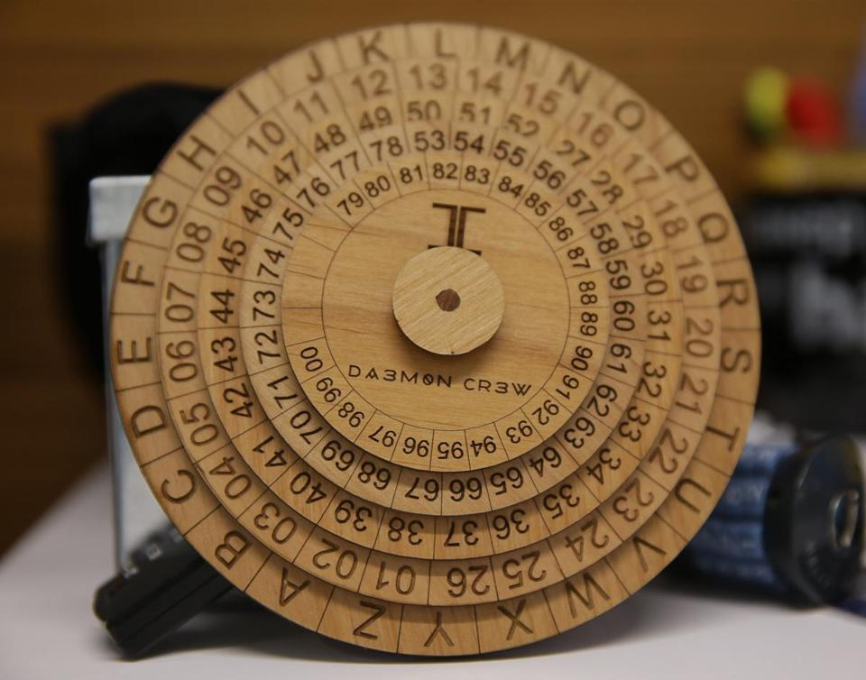 Even those uninitiated in the dark arts of cyber warfare can take on a cryptography puzzle using this wooden cipher wheel.