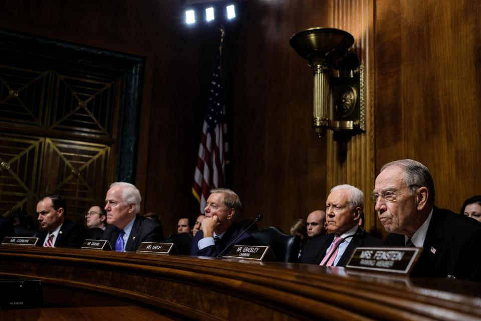 From left: Sens. Mike Lee (R-Utah), John Cornyn (R-Texas), Lindsey Graham (R-S.C.), Orrin Hatch (R-Utah), and Chairman Charles Grassley (R-Iowa) listen as Christine Blasey Ford testified before the Senate Judiciary Committee, on Capitol Hill in Washington, Sept. 27, 2018. Republicans know this may be their last, best opportunity to cement a conservative majority on the Supreme Court for a generation, Carl Hulse writes. (Gabriella Demczuk/The New York Times)