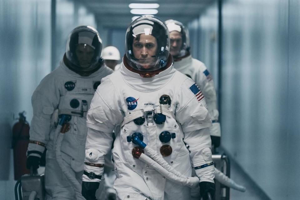 "(L to R, Foreground): Lukas Haas, Ryan Gosling and Corey Stoll in FIRST MAN. On the heels of their six-time Academy Award-winning smash, ""La La Land,"" Oscar-winning director Damien Chazelle and star RYAN GOSLING reteam for Universal Pictures' ""First Man,"" the riveting story of NASA's mission to land a man on the moon, focusing on Neil Armstrong and the years 1961-1969."