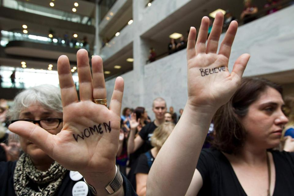 Protestors gather in the Hart Senate Office Building on September 27, 2018 in Washington, DC, in support of Christine Blasey Ford, who is testifying against Supreme Court Justice nominee Brett Kavanaugh at a Senate Judiciary Committee hearing. (Photo by Jose Luis Magana / AFP)JOSE LUIS MAGANA/AFP/Getty Images