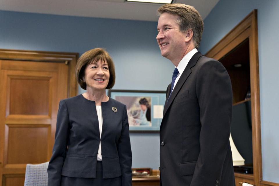 Sen. Susan Collins, R-Maine, meets Supreme Court Brett Kavanaugh, right, on Capitol Hill on Aug. 21. MUST CREDIT: Bloomberg photo by Andrew Harrer