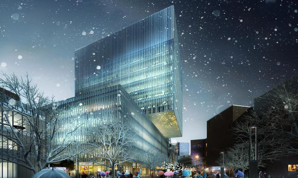 An artist's rendering of some of the development  MIT is planning for the Kendall Square area in Cambridge.