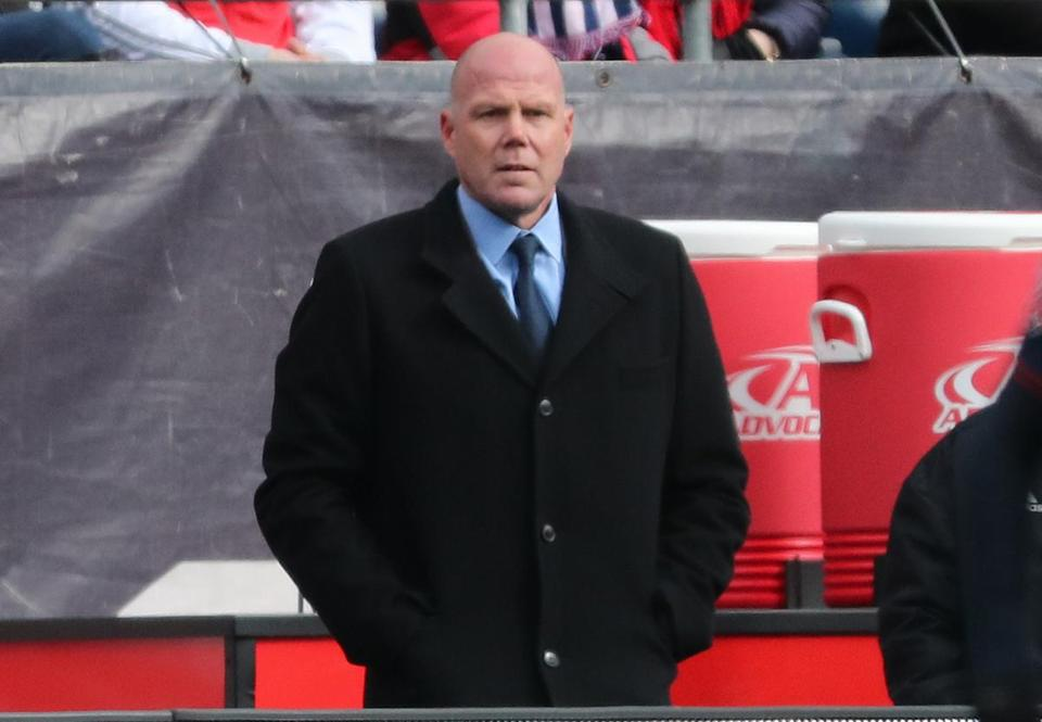 Foxborough MA 03/10/18 New England Revolution first year head coach Brad Friedel on the bench against the Colorado Rapids during first half action of MLS Soccer opening day at Gillette Stadium. (Matthew J. Lee/Globe staff) topic: Rapids-Revo pics reporter: