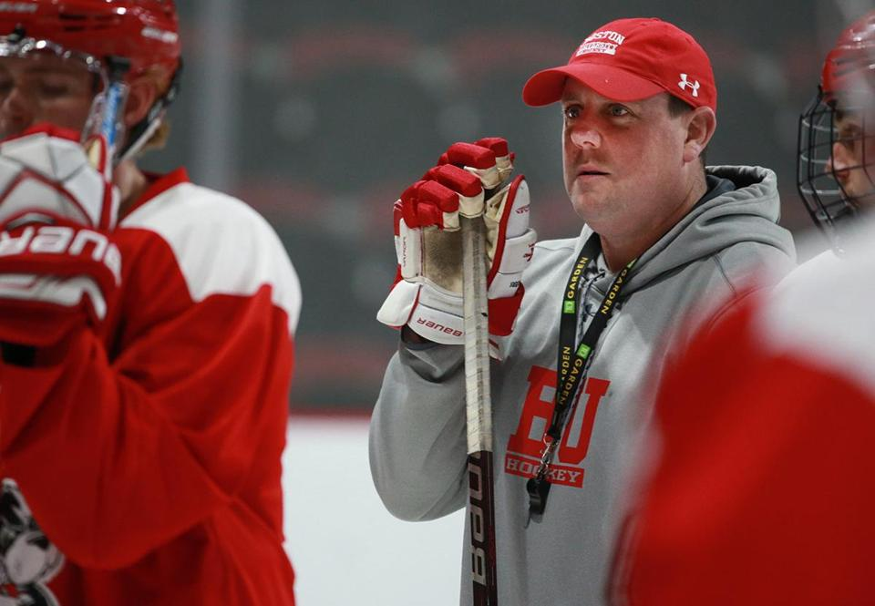 Boston MA 10/09/18 Boston University new men's hockey coach Albie O'Connell during practice at Agganis Arena. (photo by Matthew J. Lee/Globe staff) topic: reporter: