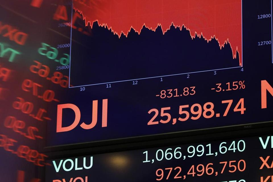 FILE- This Wednesday, Oct. 10, 2018, file photo shows a screen above the floor of the New York Stock Exchange shows the closing number of the Dow Jones industrial average. The last time the stock market was falling this much, this fast, earnings season came to the rescue. Earlier this year, a parade of companies lined up to report profits that were even fatter than Wall Street had forecast, which helped turn momentum and get stocks back on the upswing. (AP Photo/Richard Drew)