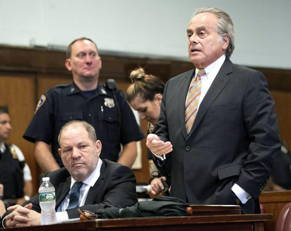 "Lawyer Benjamin Brafman (right) argued that the dismissal of a charge related to accuser Lucia Evans had ""tainted"" the prosecution's entire case against Harvey Weinstein (seated)."