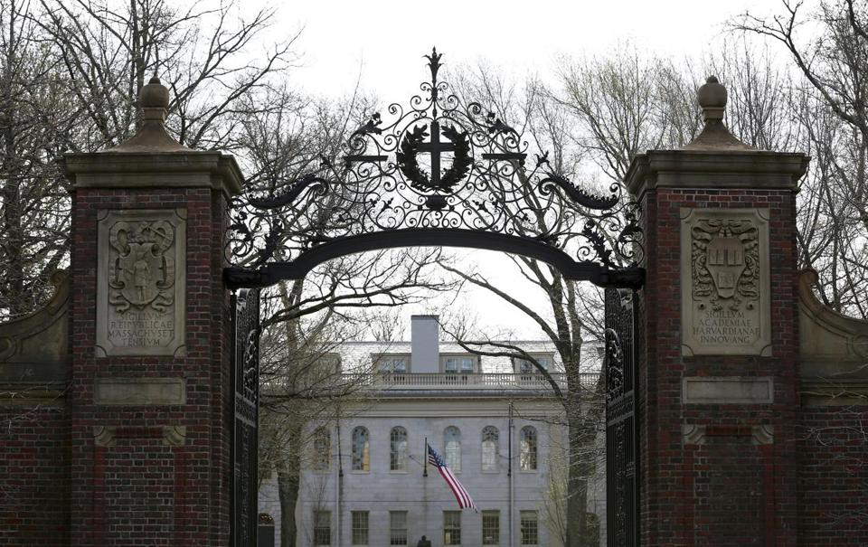 FILE-- The Johnston gate frames the entrance to Harvard Yard, part of the Harvard University campus, in Cambridge, Mass., April 30, 2018. The Justice Department argued that a court should deny Harvard University's request to dismiss a lawsuit before trial brought by students claiming the school uses affirmative action policies that they claim discriminate against Asian-American applicants. (Hadley Green/The New York Times)