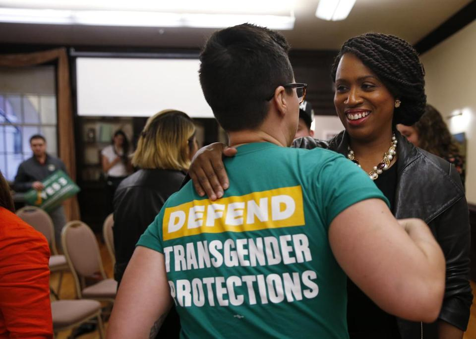 Democratic congressional nominee Ayanna Pressley embraced Bridget Schaaff, a federal policy fellow with the National LGTBQ Task Force.
