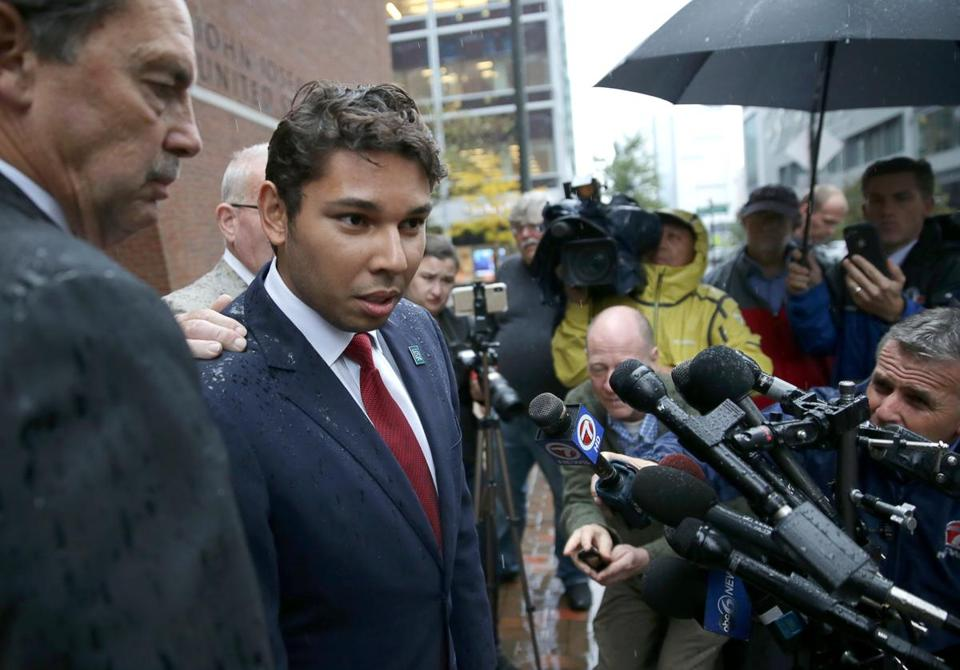 Mayor Jasiel Correia spoke after leaving court on Thursday.