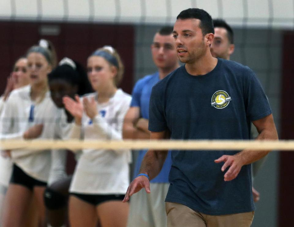 Westford, MA: 10-11-18: Coach Darren Gwin of the Acton-Boxborugh girls volleyball team is pictured during a match vs. Westford Academy. (Jim Davis/Globe Staff)