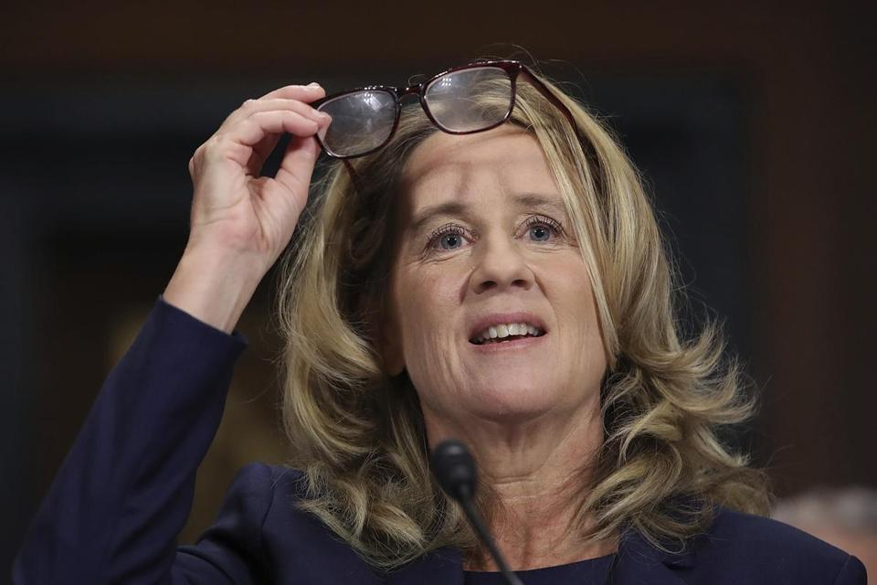 Christine Blasey Ford testifies before the Senate Judiciary Committee, Thursday, Sept. 27, 2018 in Washington. (Win McNamee/Pool Image via AP)