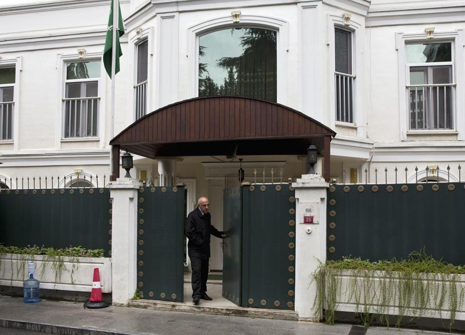 A security personnel member walked out of Saudi Arabia's consulate in Istanbul, Friday.