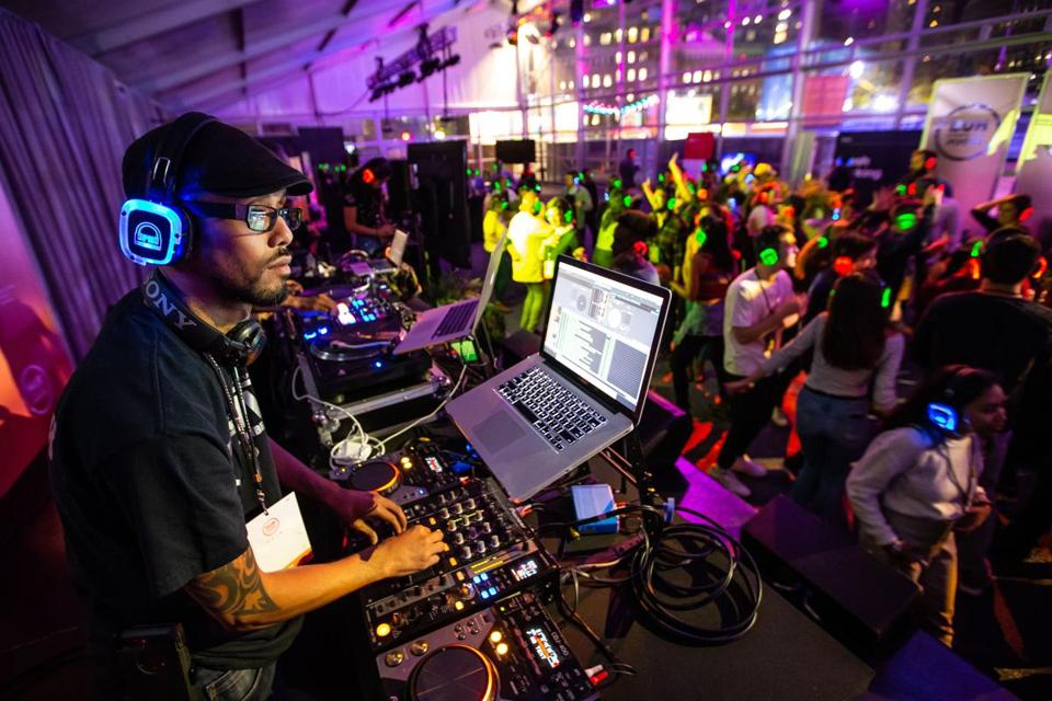 10/12/2018 BOSTON, MA DJ Savuth (cq), aka Sammy Sueksagan (cq), played music as participants listened on wireless headphones during a silent disco held at Hubweek in Boston. (Aram Boghosian for STAT)