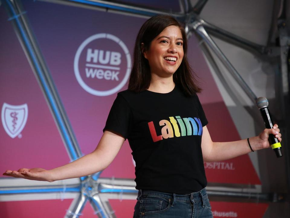 "Natalia Oberti Noguera, founder & CEO of Pipeline Angels, sported a ""Latinx"" T-shirt at HUBweek Saturday."
