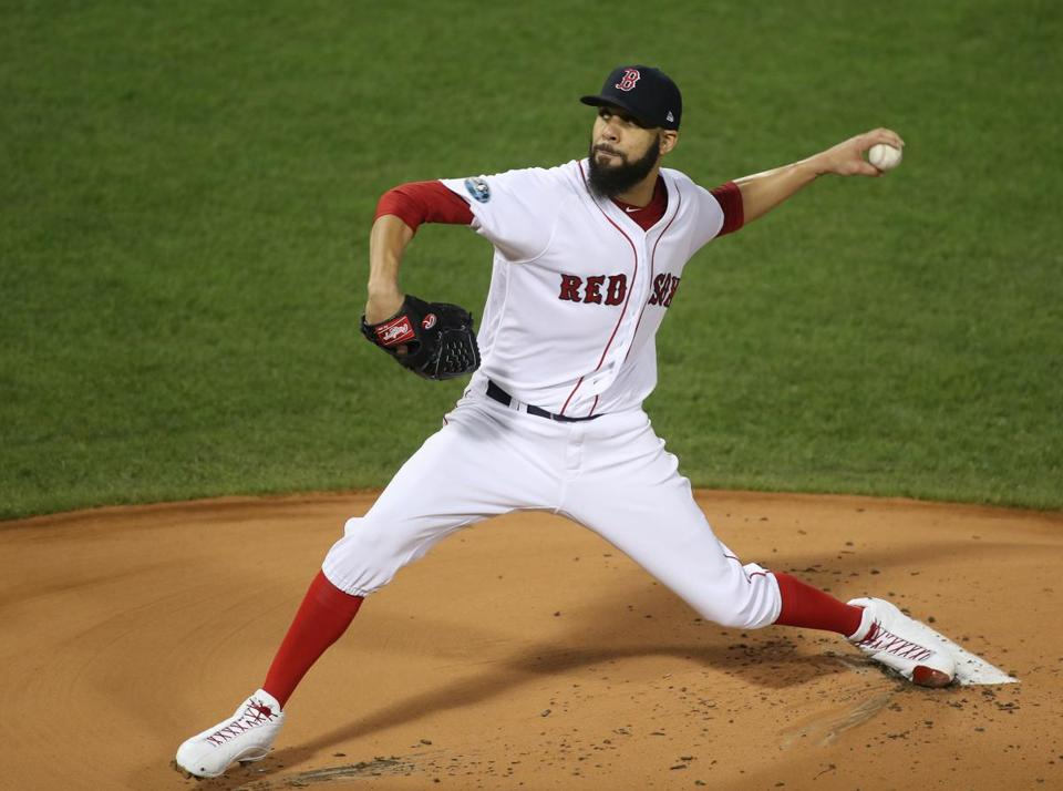 Boston, MA 10/14/18: Red Sox pitcher David Price faces in the first inning. Boston Red Sox hosted the Houston Astros in Game Two of ALCS at Fenway Park Sunday, October 14, 2018. (Stan Grossfeld / Globe Staff)