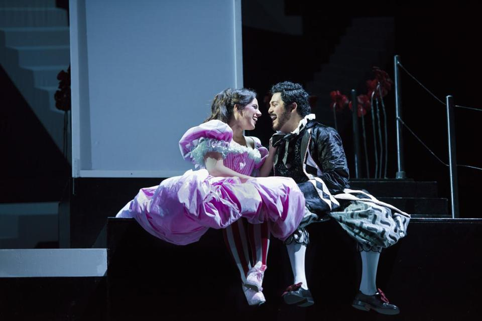 "Daniela Mack and Jesus Garcia in Boston Lyric Opera's new production of ""The Barber of Seville."""