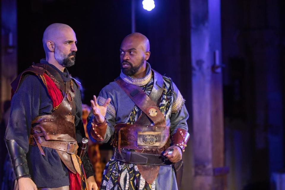 "Nael Nacer (left) and Maurice Parent in Actors' Shakespeare Project's ""Macbeth."""