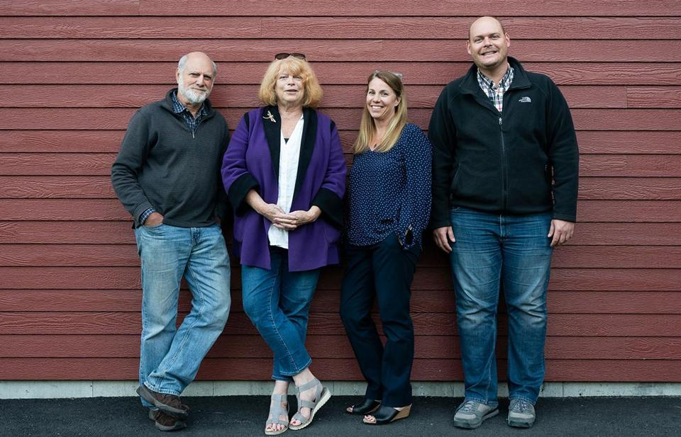 Scarborough, ME, United States -- Members of the Committee for Ranked Choice Voting in Maine, from left to right, Phil Steele, Cushing Samp, Cara Brown McCormick, and Kyle Bailey, stand outside of Nonesuch River Brewery during a ranked choice beer election organized by the committee, in Scarborough, ME on Monday, September 24, 2018. (Yoon S. Byun for the Boston Globe) Slug: Reporter: Jessie Scanlon LOID: 8.4.3310032058