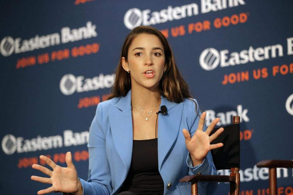 BOSTON, MA - 10/16/2018: Olympic gymnast Aly Raisman talked about sex abuse in the lobby of Eastern Bank's headquarters on Franklin Street (David L Ryan/Globe Staff ) SECTION: METRO TOPIC 17aly