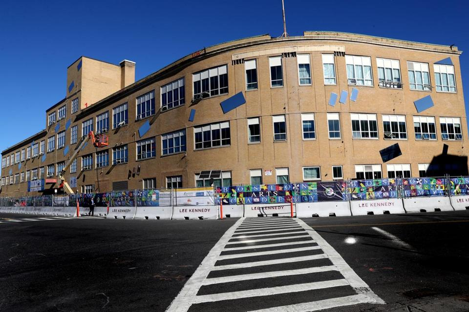 BOSTON, MA - 10/16/2018: Mayor Martin J. Walsh and others broke ground on the new Boston Arts Academy building. a $125 million project. (Demolition of the old building, across the street from Fenway Park, is apparently under way.) This ground breaking is part of a broader agenda by Walsh moving forward with a sweeping plan to overhaul the school system's aging buildings, most of which went up prior to World War II. (David L Ryan/Globe Staff ) SECTION: METRO TOPIC 17bps