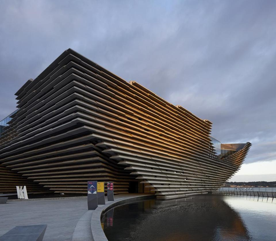 V&A Dundee, which opened last month, stands at the center of a $1.3 billion urban transformation of former docks in Dundee, Scotland.
