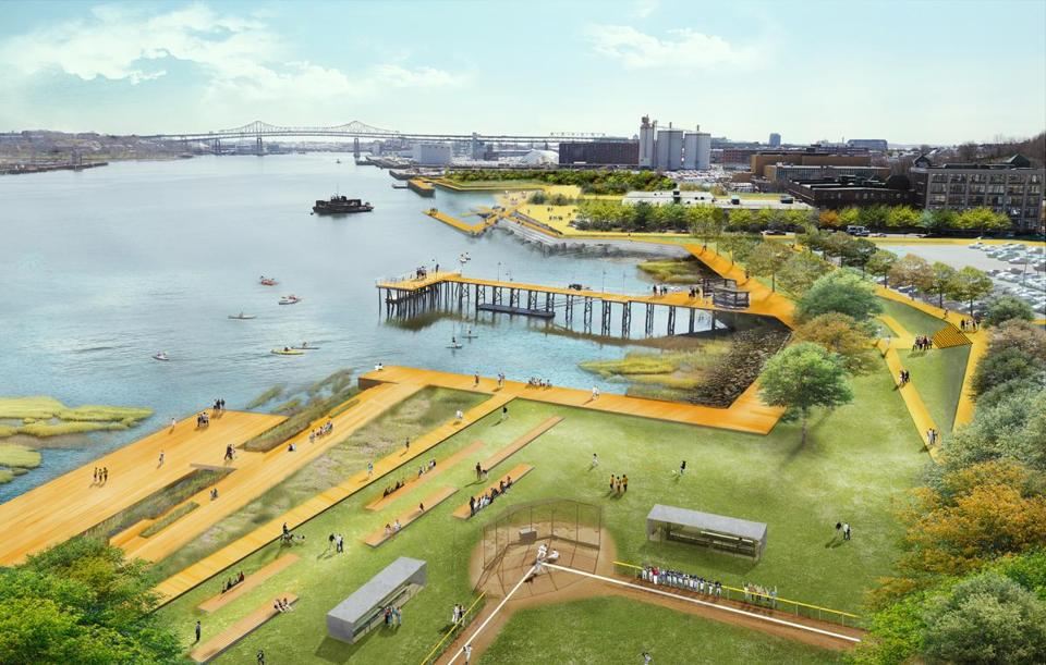 "A rendering from page 44 of the ""Final Report of Coastal Resilience Solutions for East Boston and Charlestown,"" which shows Charlestown's long-term climate resilient waterfront strategy."